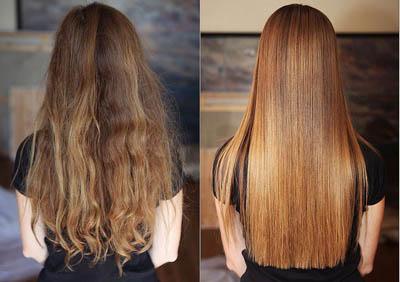 выпрямление волос в домашних условиях до и после