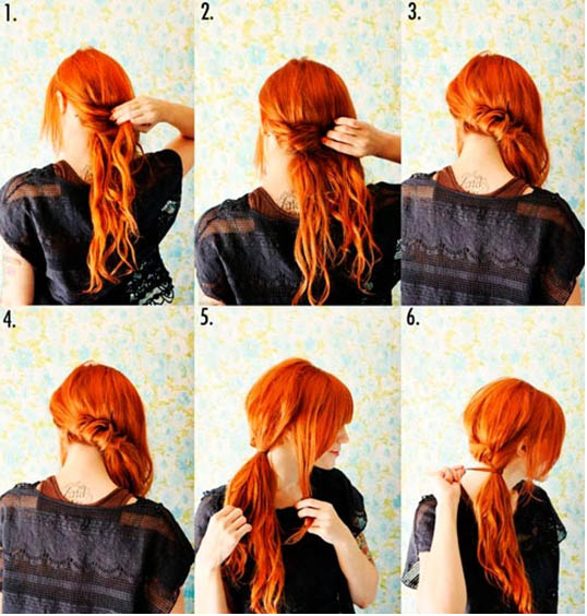 оригинальный хвостик на средние волосы