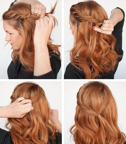 прическа на средние волосы ободок-2