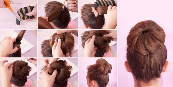 высокий пучек на средние волосы