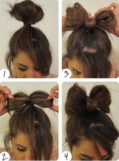 пучок бант из волос