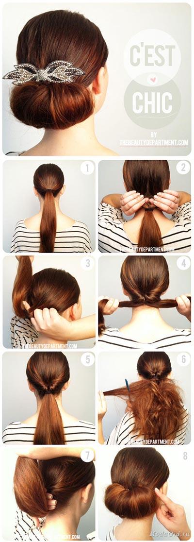 Видео как сделать прическу на каждый день на средние волосы