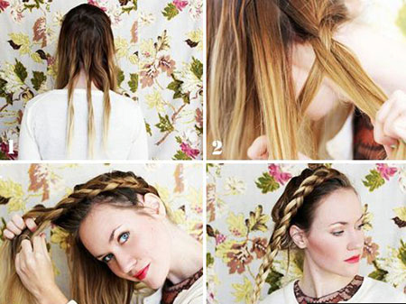 коса корона на средние волосы