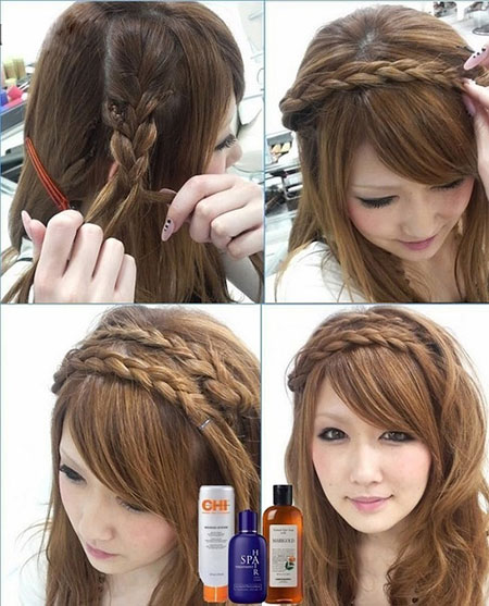 коса ободок на средние волосы