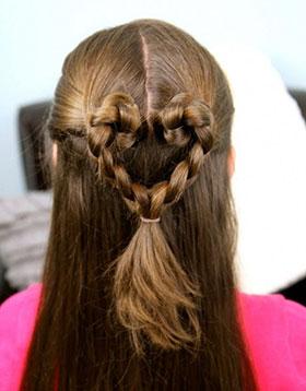 косички сердце на длинные волосы