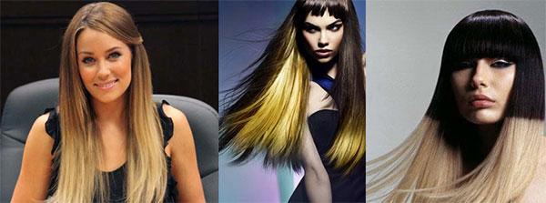 поперечное колорирование темных волосы