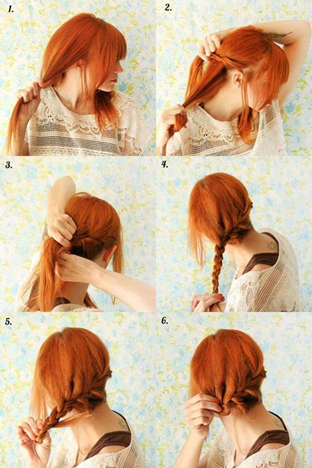 прическа с косами набок