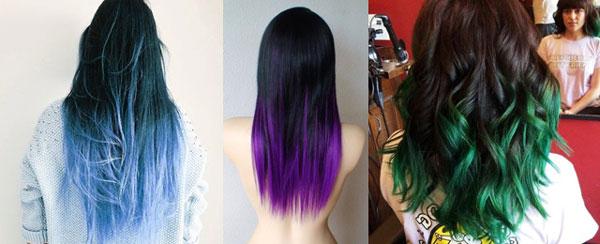 разноцветное омбре на темные волосы