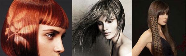колорирование темных волос узорами
