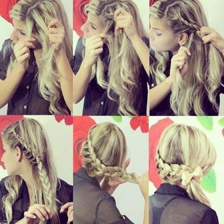 коса с хвостом на бок