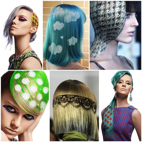 варианты окрашивания волос с трафаретом