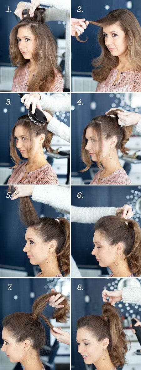 прическа хвостик с волнистыми волосами