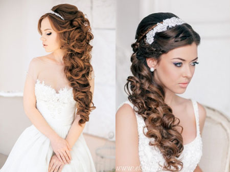 прическа с диадемой на длинные волосы