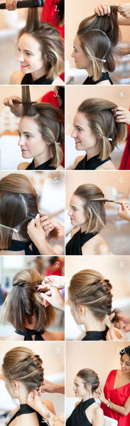прическа с косами на короткие волосы